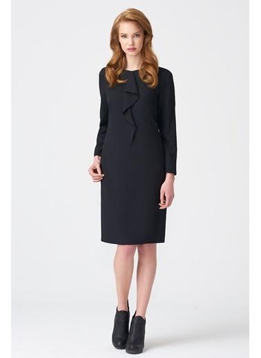 NaraMaxx Ön Detaylı Siyah Elbise Siyah